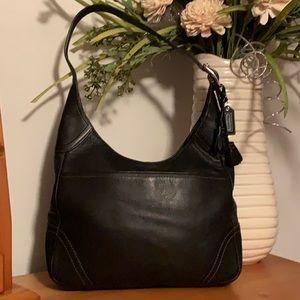 Coach Black Leather Tasseled Hobo Bag